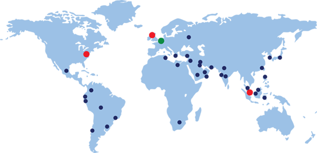 Armstrong Chemtec international sales and manufacturing locations.