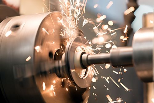 Metalworking with sparks flying